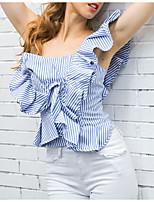 Для женщин На каждый день Лето Блуза На одно плечо,Простое Полоски Без рукавов,Хлопок,Тонкая