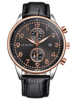 XU Men's Luxurious Elegant Quartz Leather Belt Business Large Dial Calendar Wrist Watch Dress Watch
