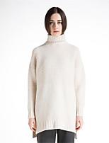 Для женщин На каждый день Простое Короткий Пуловер Однотонный,Хомут Длинный рукав Шерсть Хлопок Полиэстер Осень Зима Толстая