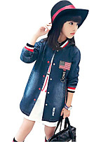 Girls' Solid Trench Coat,Cotton Rayon Spring Fall Long Sleeve