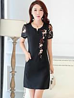 Для женщин На выход На каждый день Большие размеры Винтаж Шинуазери (китайский стиль) Прямое Оболочка Платье Вышивка,V-образный вырезВыше