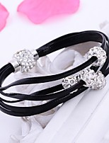 Men's Women's Leather Bracelet Wrap Bracelet Multi Layer Punk Classic Leather Rhinestone Line Jewelry For Wedding Casual Office & Career
