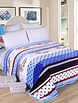 Коралловый флис Полоски Полиэстер /хлопок одеяла