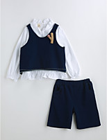 Girls' Solid Sets,Cotton Spring Fall Long Sleeve Clothing Set