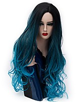 Women Synthetic Wig Capless Long Natural Wave Lake Blue Ombre Hair Natural Wig Party Wig Halloween Wig Carnival Wig Costume Wigs
