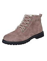 Для женщин Ботинки Удобная обувь Модная обувь Замша Осень Зима Для праздника Для прогулок На плоской подошве Черный Зеленый ХакиНа