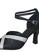 Для женщин Латина Шёлк Сандалии Концертная обувь Плиссировка Кубинский каблук Черный Лиловый Коричневый Красный 5 - 6,8 см