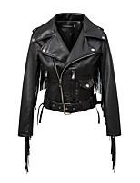 Для женщин Спорт На выход На каждый день Осень Зима Кожаные куртки Лацкан с тупым углом,Уличный стиль Однотонный Обычная Длинный рукав,