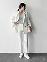Women's Going out Vintage Fall Blazer,Striped Peaked Lapel Long Sleeve Regular Cotton