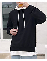 Men's Casual/Daily Hoodie Color Block Letter Hooded Micro-elastic Cotton Long Sleeve Fall
