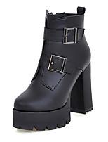 Damen Stiefel Modische Stiefel Kunstleder Winter Normal Kleid Schnalle Reißverschluss Blockabsatz Schwarz Rot Dunkelbraun 10 - 12 cm