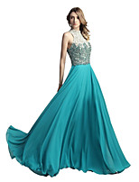 Sheath / Column Halter Floor Length Chiffon Rehearsal Dinner Formal Evening Dress with Beading by Sarahbridal