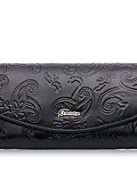 Women Checkbook Wallet Cowhide All Seasons Daily Casual Rectangle Magnetic Black