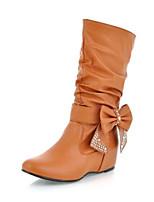 Feminino Sapatos Couro Ecológico Outono Conforto Botas Para Casual Amarelo