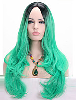 Middle Long Body Wave Grass Green Wig Synthetic Ombre Black to Green Two Tone Wig for Black Women Cosplay Wigs
