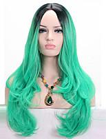 Pelucas sintéticas Sin Tapa Medio Ondulado Verde Peluca afroamericana Para mujeres de color Peluca de cosplay Las pelucas del traje