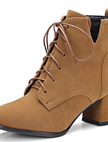 Women's Shoes Chunky Heel Pointed Toe Lace Up Ankle High Boot More Color Available