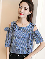 Women's Casual/Daily Simple Blouse,Striped Round Neck Short Sleeve Cotton