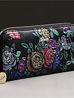 Women Checkbook Wallet Cowhide All Seasons Daily Casual Rectangle Zipper Black