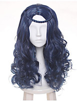 60cm Female's Blue Black Mix Wave Long Central Part Braid Styled Synthetic Hair Party Cosplay Full Wig Heat resistance Halloween Custoe Wig Hot