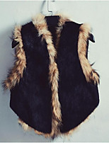 Women's Casual/Daily Simple Fall Winter Vest,Solid V Neck Sleeveless Short Raccoon Fur