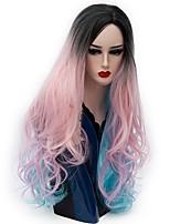 Women Synthetic Wig Capless Long Natural Wave Pink Ombre Hair Natural Wig Party Wig Halloween Wig Carnival Wig Costume Wigs