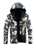 Пальто Простое Обычная На подкладке Для мужчин,камуфляж На выход На каждый день Хлопок Полиэстер,Длинный рукав