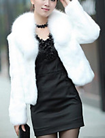 Для женщин На каждый день Осень Зима Пальто с мехом Воротник Питер Пен,Простой Однотонный Короткая Длинный рукав,Лисий Мех