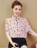 Women's Casual/Daily Simple Summer Shirt,Print Shirt Collar Half Sleeve Others Opaque