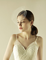 Short Sweet Wedding Birdcage Veil One-tier Bride Mini Blusher Veils Rhinestone Edge Tulle