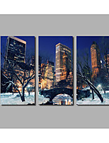 Fashion Framed City Building Snow Garden Scenery Night Scene Posters For Home Decorate Landscape Painting HD Printed on Canvas