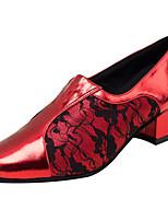 Для женщин Латина Искусственная кожа Сандалии Концертная обувь Кружева На толстом каблуке Красный 2,5 - 4,5 см Персонализируемая