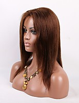 Glueless Lace Front Human Hair Wigs Unprocessed Virgin Brazilian Hair Brown Color Short Remy Straight Lace Wig For Black Women