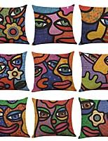 9 штук Лён Наволочка Наволочки,Текстура Модерн Традиционный/классический Пляжный стиль тропический