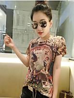 Damen Druck Einfach Lässig/Alltäglich Übergröße T-shirt,Rundhalsausschnitt Kurzarm Polyester