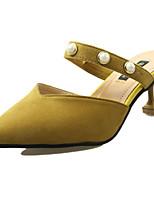 Women's Clogs & Mules Comfort Spring Summer PU Casual Pearl Low Heel Black Beige Yellow 1in-1 3/4in