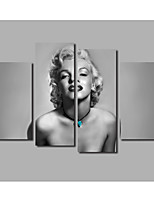 Beauty Portrait Lady Painting Printed on Canvas Marilyn Monroe 4Panels Framed Posters & Prints For Livingroom Background Modern Home Wall Art