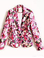 Women's Casual/Daily Simple Spring Fall Blazer,Solid Shirt Collar ¾ Sleeve Regular Others