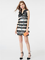 Sheath / Column Notched Short / Mini Cotton Organza Cocktail Party Dress with Tiered by TS Couture®