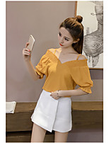 Women's Going out Cute Summer Blouse,Solid V Neck Short Sleeve Others