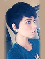 жен. Человеческие волосы без парики Черный Короткий Прямые Стрижка под мальчика С чёлкой
