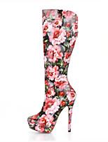 Feminino Botas Botas da Moda Couro Ecológico Outono Inverno Casamento Social Festas & Noite Rosa claro 12 cm ou mais
