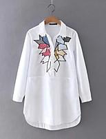 Для женщин На выход На каждый день Весна Осень Блуза Рубашечный воротник,Простое Очаровательный Уличный стиль Геометрический принтДлинный