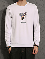 Men's Plus Size Casual Slim Small Bee Printed Sweatshirt Cotton Spandex