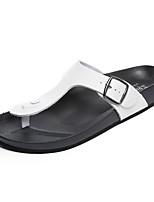 Men's Sandals Novelty Summer PU Casual White Black Flat