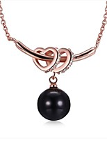 Women's Pendant Necklaces Cubic Zirconia Pearl Pink Pearl Floral Jewelry ForWedding New Baby Gift Evening Party Going out Valentine