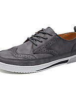 Men's Sneakers Comfort Light Soles Fall Winter Oxford Leather Casual Lace-up Flat Heel Black Gray Brown Flat
