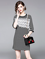 EWUS/Women's Going out Casual/Daily Street chic Shift DressStriped Round Neck Above Knee Half Sleeves Polyester Summer Fall Mid Rise