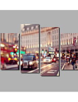 4 Panels Framed Beautiful London Street Nighty Lights Scene Painting Printed on Canvas For Livingroom Background Posters