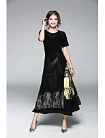 Для женщин На каждый день Оболочка Платье Однотонный Цветочный принт,Круглый вырез Средней длины Без рукавов Полиэстер ЛетоСо стандартной